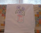 Morning Glories  in a Mason Jar  Flour Sack Dish Towel