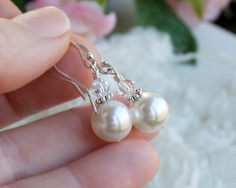 White Swarovski Pearl Dangle Earrings, Sterling Silver, Crystal And Pearl, Wedding Earrings , Bridal, Minimalist, Simple Earrings