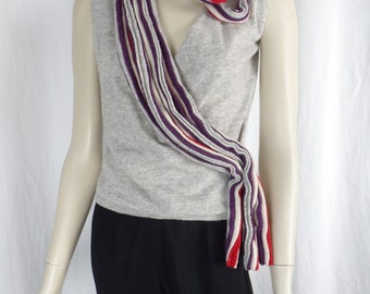 Candy Ribbon asymmetrical neck grey wrap front sweater vest/massive striped loops wool: size M