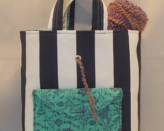 Crocheter's Tote Bag Made With Navy and White Striped and Green And Navy Fabric