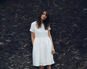 Linen Dress - White Linen Dress - Minimalist Linen Dress - Short Sleeved Dress - Handmade by OFFON