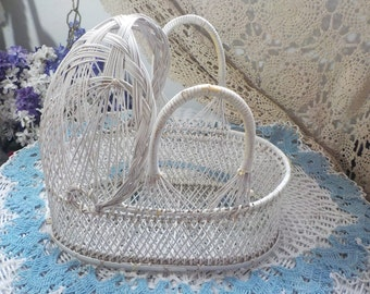 Wicker Doll Basket Vintage / White Wicker/ Carrying Basket/Basket Doll Bed NOT INCLUDED In Coupon or Discount Sale/ /Hard to find :)