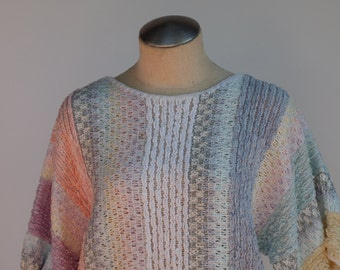 80s soft chenille pullover sweater in pastel colors