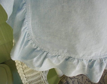 Vintage Cottage Chic Pillow Sham, Light Blue Chambray with Ruffles, King Bed Size