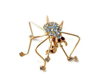 Vintage Rhinestone Spider Brooch, Crazy Cute, Retro Pin