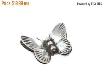 ON SALE Tiny Fluttering Butterfly Pin, Artisan, Vintage Sterling Silver, 3 Dimensional Brooch