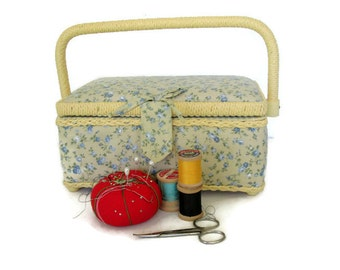 Vintage Sewing Box with Vintage Buttons, Country Sewing Room, Craft Basket, Full of Vintage Supplies
