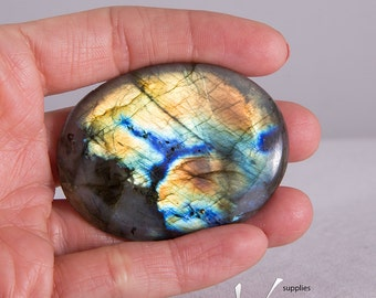 Very high quality large oval natural labradorite cabochon, 53mm X 40mm, golden blue rainbow flashy labradorite, unique large piece