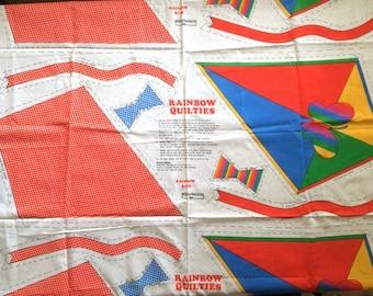 Cute Vintage 80s Rainbow Quilties Flying Kite Cut N Sew Fabric Panel Pillow Craft  Retro Rainbow Brite Butterfly Home Decor Cute Bright Fun!
