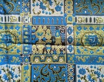 60s Arabesque Vintage Fabric Deep Blue Green Smooth Cool Cotton Cute Bright Fun