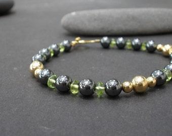 Natural Gemstone Peridot - Hematite - 14kt Yellow Gold Filled Bracelet