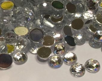 50 clear rhinestone flat backs , 8 mm (S10)
