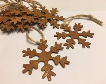 3 Rustic Tin Snowflakes, 50 mm (BR2)