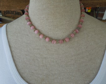 Vintage Faux Pearl Necklace.  Pink Pearls with Silver Tone Clusters