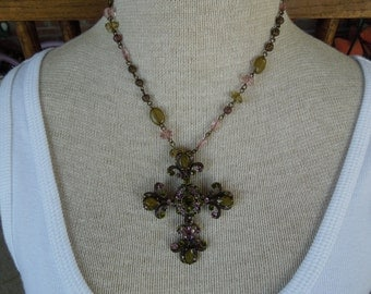 Vintage Cross Necklace.  Made by VCLM.  Lighter Multicolor Stones, Excellent Condition