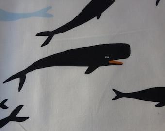 1/2 Yard Organic Cotton Fabric - Birch Fabrics, Saltwater, Whales Cream