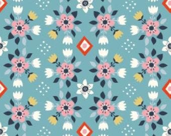 1/2 Yard Organic Cotton Fabric - Wildland Flowered Blue