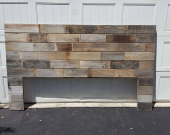 Rustic modern industrial reclaimed wood wall mount headboard art