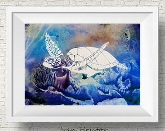 Sea Turtle 1 poster sea turtle print watercolor poster blue turtle decor sea turtle art watercolor print watercolor poster wall decor