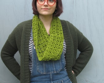 Crochet Cowl Neck Warmer Dark Avocado Green Infinity Scarf Unisex Scarf