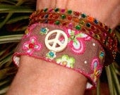 Hippie Gypsy India Textile Fabric Colorful Peace Sign Embroidred Bracelets Neon Beads