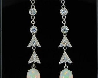 Sensational opal and diamond drop earrings