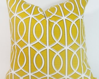 "Yellow Pillow.Yellow Trellis Pillow-Throw Pillow-Citron Yellow / White Lattice, Trellis.16 x 16"", or 17 x 17"" or  18 x 18."""