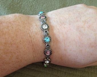 Vintage Silvertone and Multicolored Gemstone Bracelet, Length 7.5''