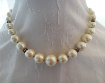 Ivory Pearl and Crystal Necklace