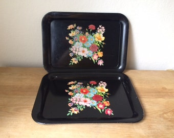 Vintage Metal Tray Black with Flower Bouquet, Lap Tray, Vanity Tray, Serving Tray