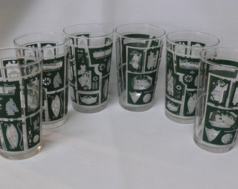 Vintage Federal Glass Americana Drinking Glasses  Set of 6 Green Ye Old Tavern Tumblers Water Glasses