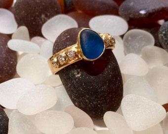 18k Gold, Diamond, Dark Turquoise Sea Glass Ring