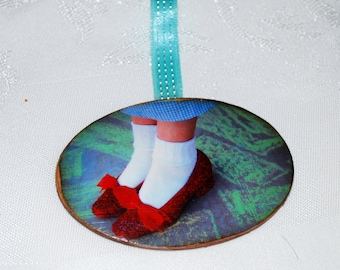 ruby red slippers wooden photo Christmas ornament Oval