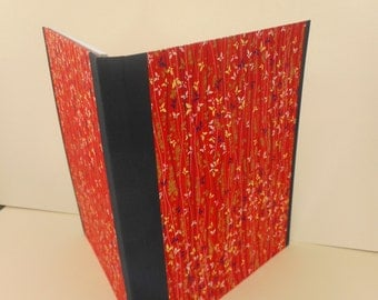 """Hand-marbled Portfolio: Red, Blue Gold. """"Red Butterflies"""". Writing pad, For School or lecture notes. Writing"""