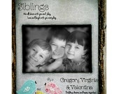 Siblings brother and sister grey kids room decor nursery birds name sign  Picture Frame Personalized Sisters Gift Children 4x6 5x7 8x10