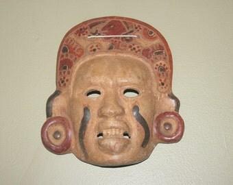 Vintage Aztec Terracotta Wall Mask,  Antique Alchemy