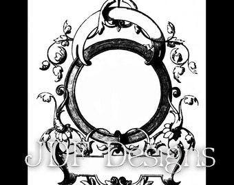Instant Digital Download, Victorian Era Graphic, Decorative Text Banner Frame, Label, Printable Image, Scrapbook, Invitation, Scroll