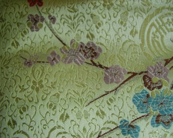 Vintage 50's, 60's? Gold Satin Brocade Asian Motif Fabric, 2 yards
