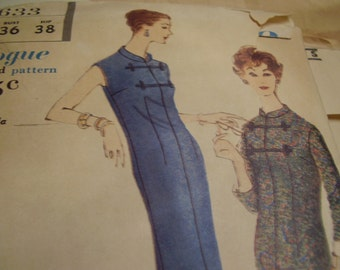 Vintage 1950's Vogue 9633 Dress or Tunic Blouse Sewing Pattern, Size 16, Bust 36
