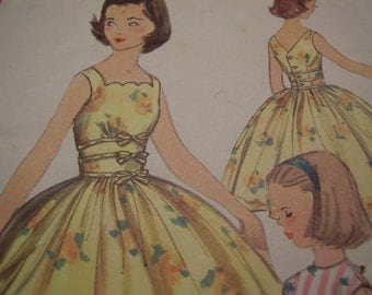 Vintage 1950's Simplicity 2127 Girls' Dress Sewing Pattern, Size 10, Breast 28