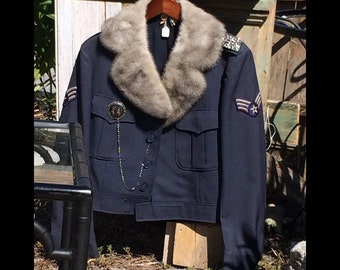 Billie-Vintage Air Force Ike Jacket Grey Blue Wool with Vintage Clip Epaulettes, Coro Earring Cuff Buttons, Grey Mink Collar, Siamese Pin