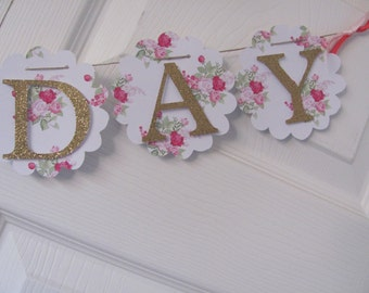 Birthday Banner, Happy Birthday Banner, Happy Birthday, Girl Banner 1st Birthday, Pink, Blue and Glitter Gold