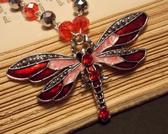 Silver and Red Beaded Dragonfly Necklace