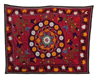 Suzani Vintage Suzani Old Embroidery Suzani Wall Hanging Uzbek Suzani Table Cover Ethnic Suzani 4.79' x 6.17' FAST SHIPMENT with ups - 124