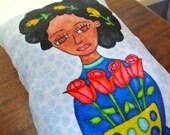 Art Pillow: Doll Pillow Flowers Bouquet Black Hair Woman Accent Pillow Handmade Textile Home Decor Nursery Pillow New Baby Unique Gift