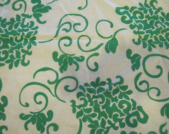 VTG Modern Green Cotton, Green, Floral, Flower, Cotton Blend, Semi Sheer Modern, 1980's, 1990's, Modern Floral, White