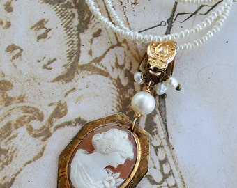 Antique Carved Shell Cameo Victorian Watch Fob Clasp Freshwater Seed Pearl Necklace