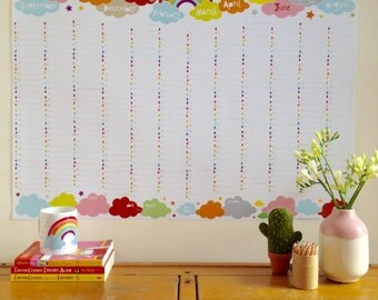 2016-2017 Large Academic Rainbow Wall Planner, 2016 academic wall calendar , A1 wall planner, A2 family wall planner with TUBE DELIVERY
