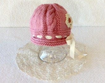 Dusty Pink Vintage Style Cable Baby Hat with Flowers and Button,  6-12 months