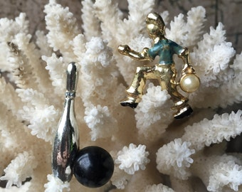 Vintage Bowling Brooches - Man & Bowling Ball / Bowling Pin and Ball